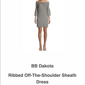 Heather Gray off shoulder knit bell sleeved dress.